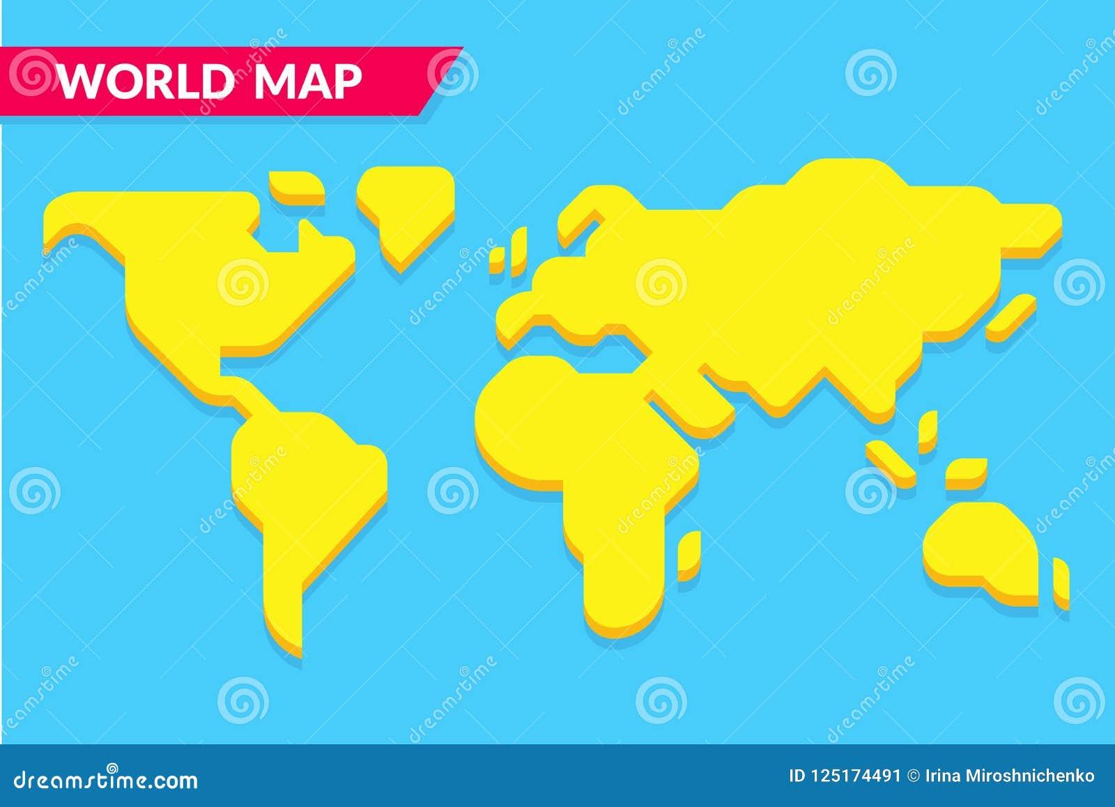 Simple Cartoon Style World Map Stock Vector Illustration Of Flat
