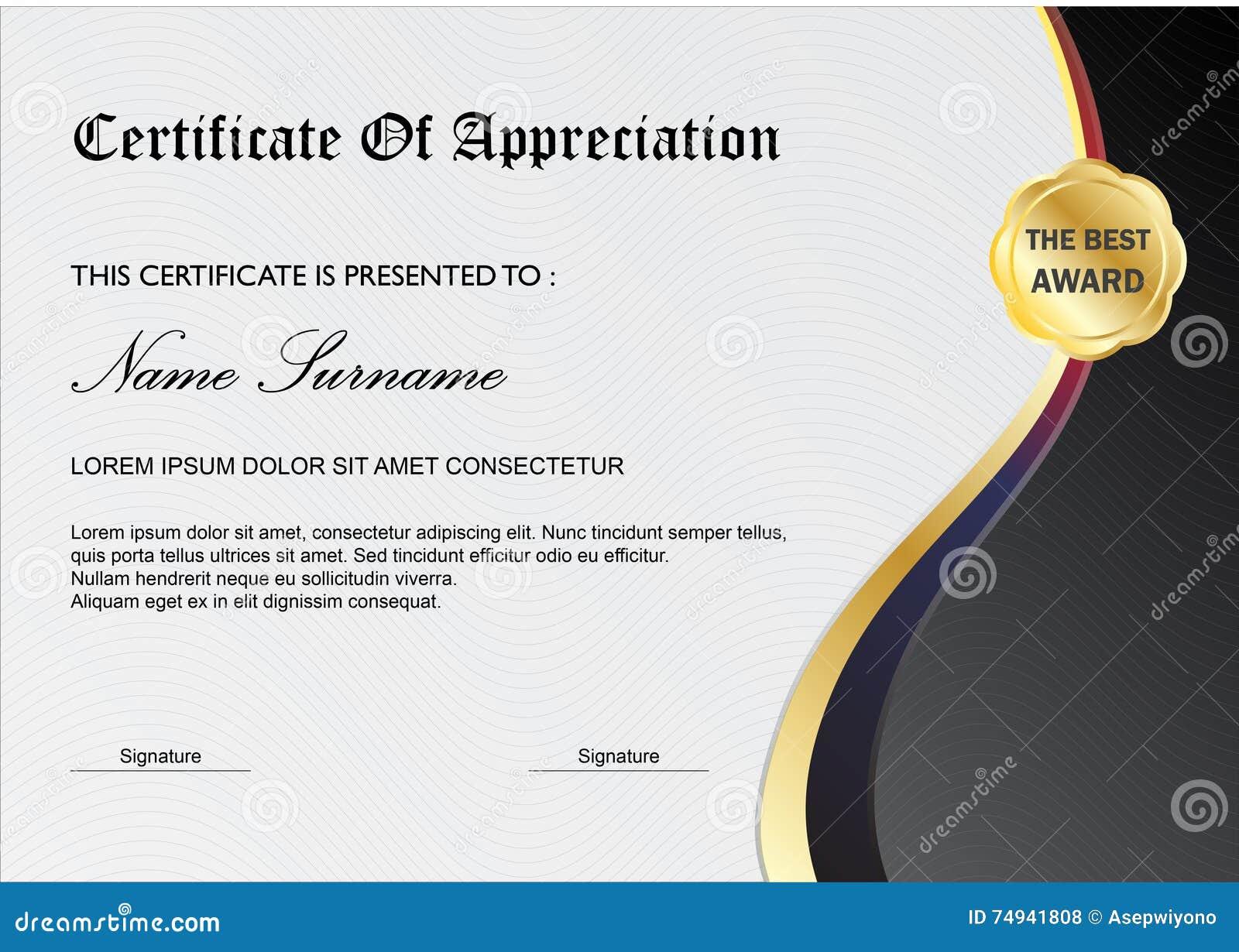 simple certificate diploma award template gray black