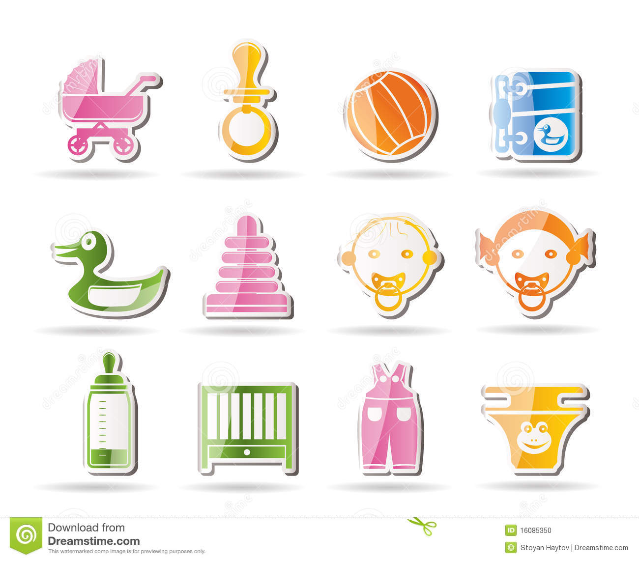 child baby and baby online shop icons cartoon vector 10564555. Black Bedroom Furniture Sets. Home Design Ideas