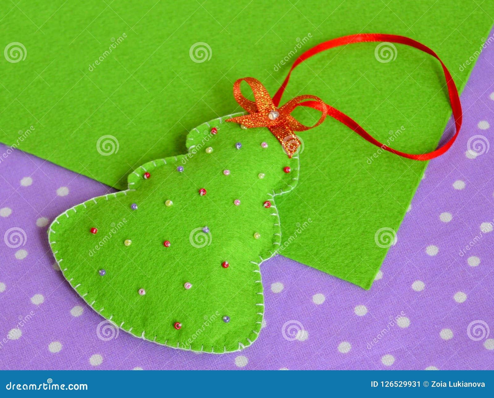 Simple Christmas Crafts.Handmade Christmas Tree Of Felt Kids Craft Stock Image