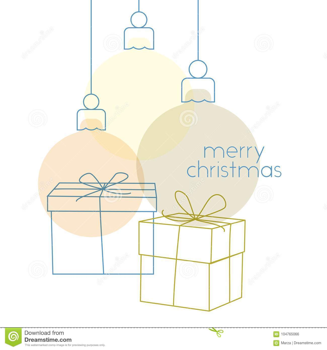 Simple Christmas Greeting Card Stock Illustration Illustration Of