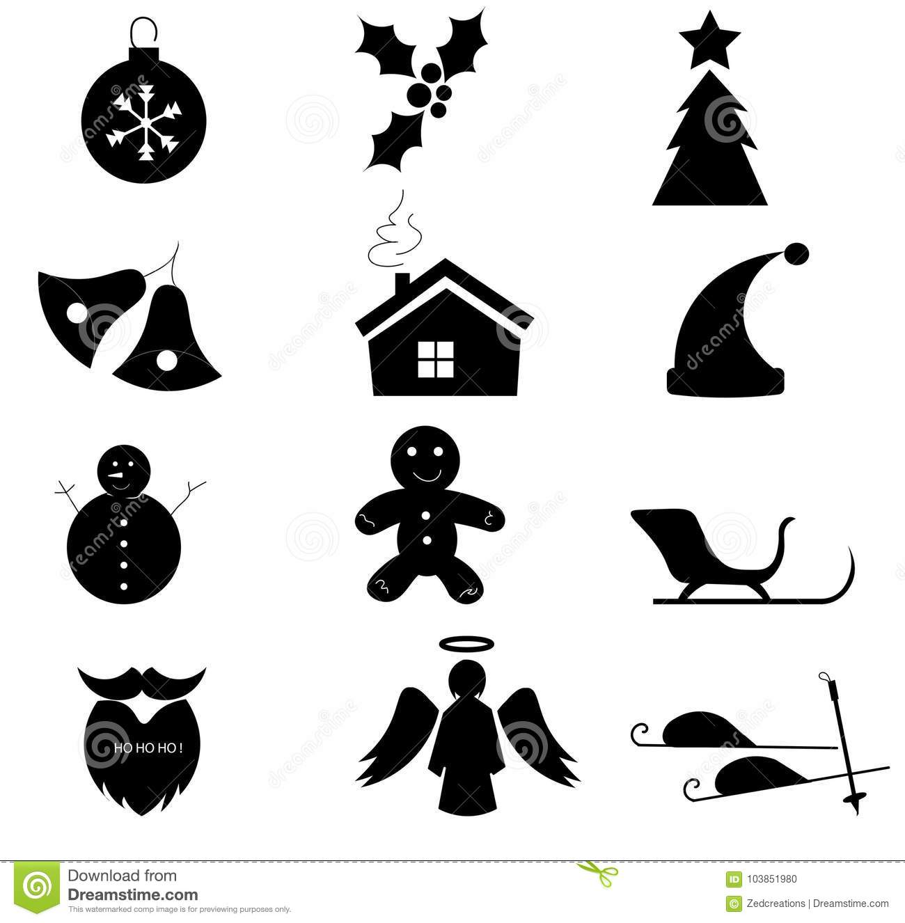 Simple Christmas Icons Black And White Stock Vector