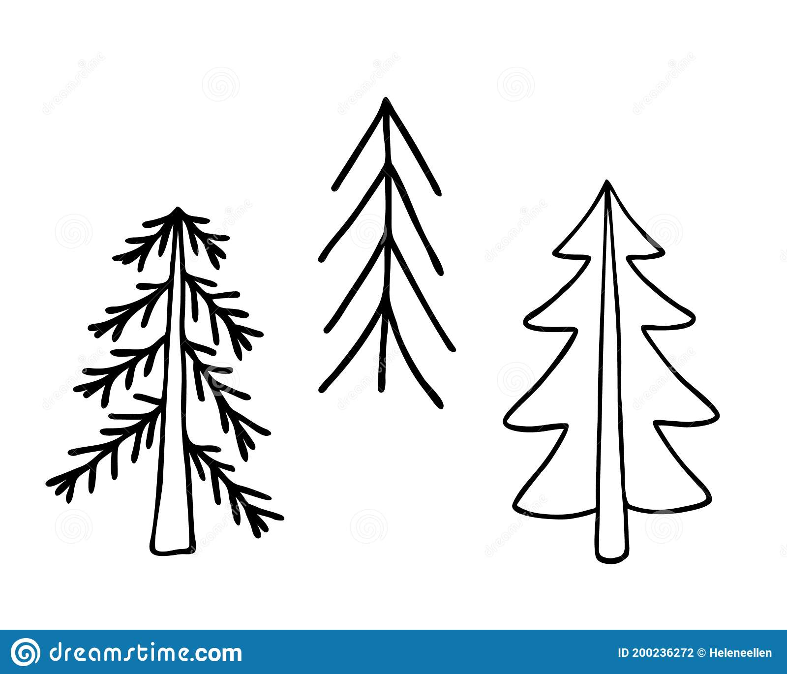 Simple Christmas Tree Hand Drawn In Doodle Style Minimalist Vector Outline Illustration Winter Holiday Decor Stock Vector Illustration Of Funny December 200236272