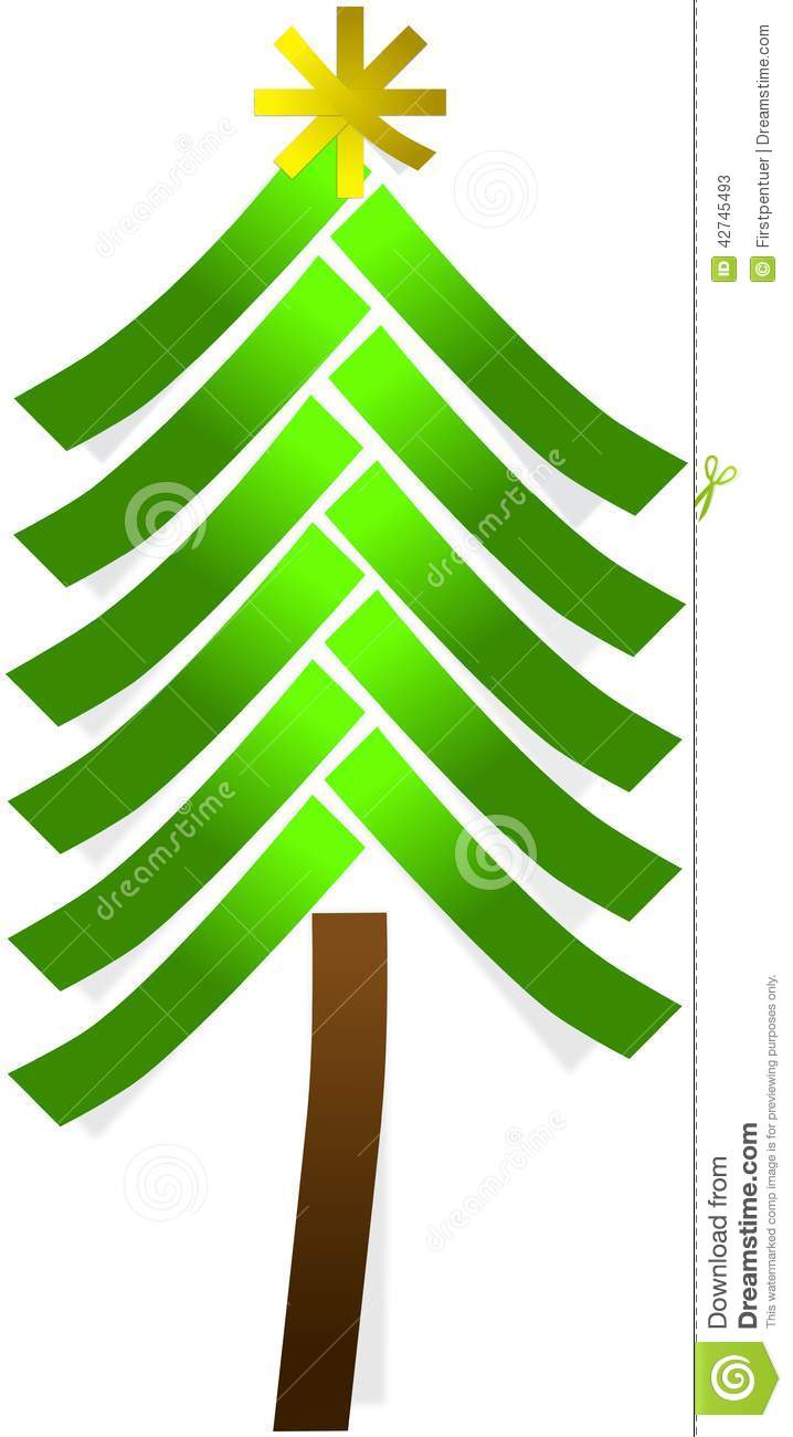 download simple christmas tree and star from paper stickers stock illustration illustration of winter - Simple Christmas Tree