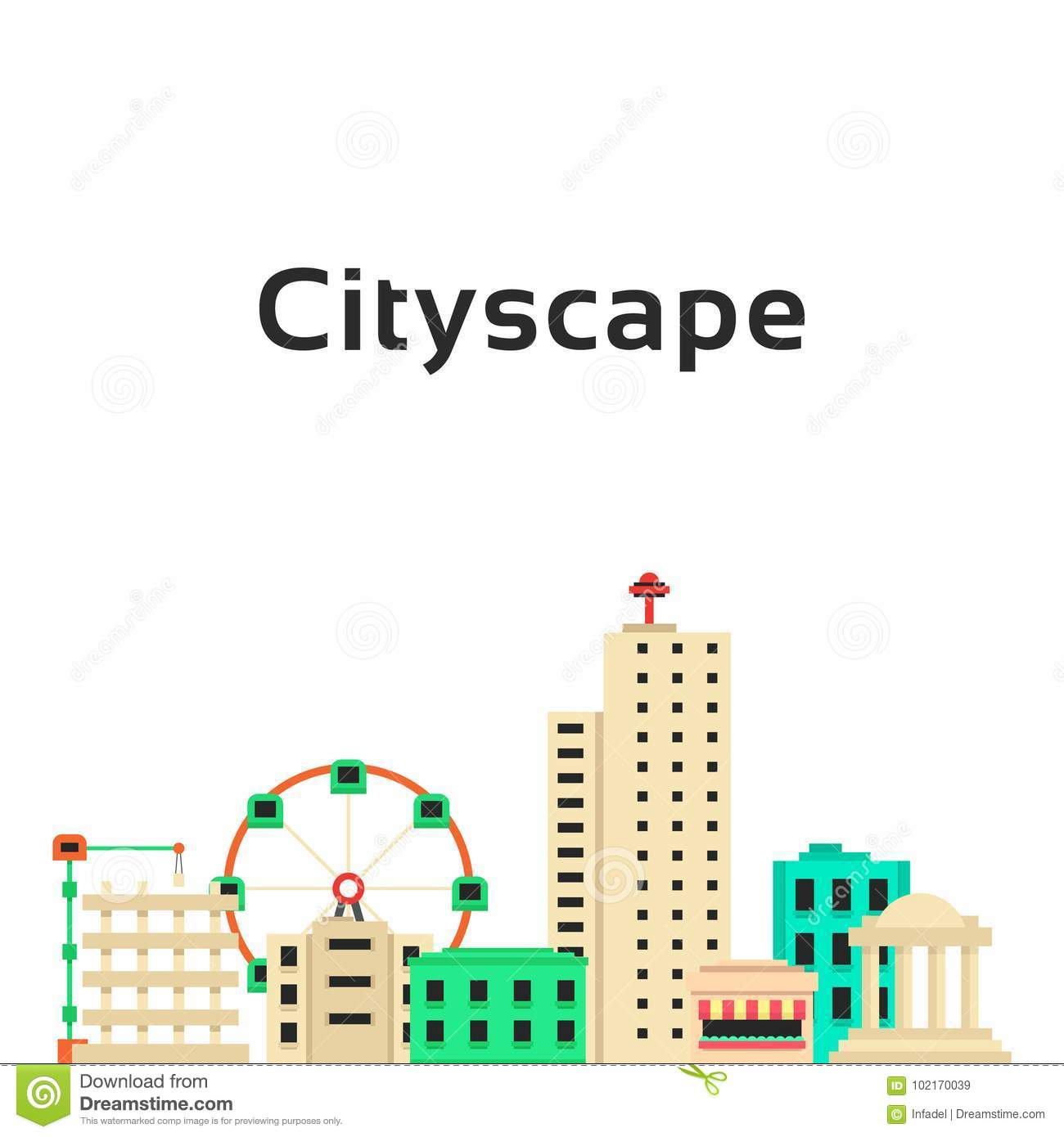 Simple cityscape with set of buildings
