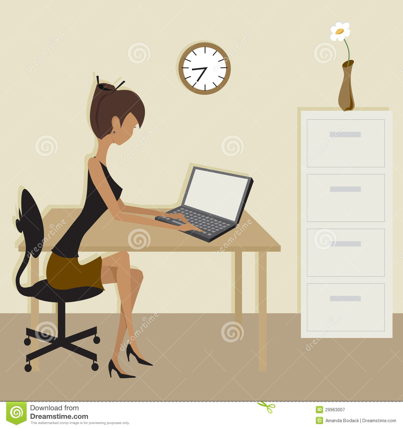 Simple Clip Art Office Scene Stock Vector Illustration