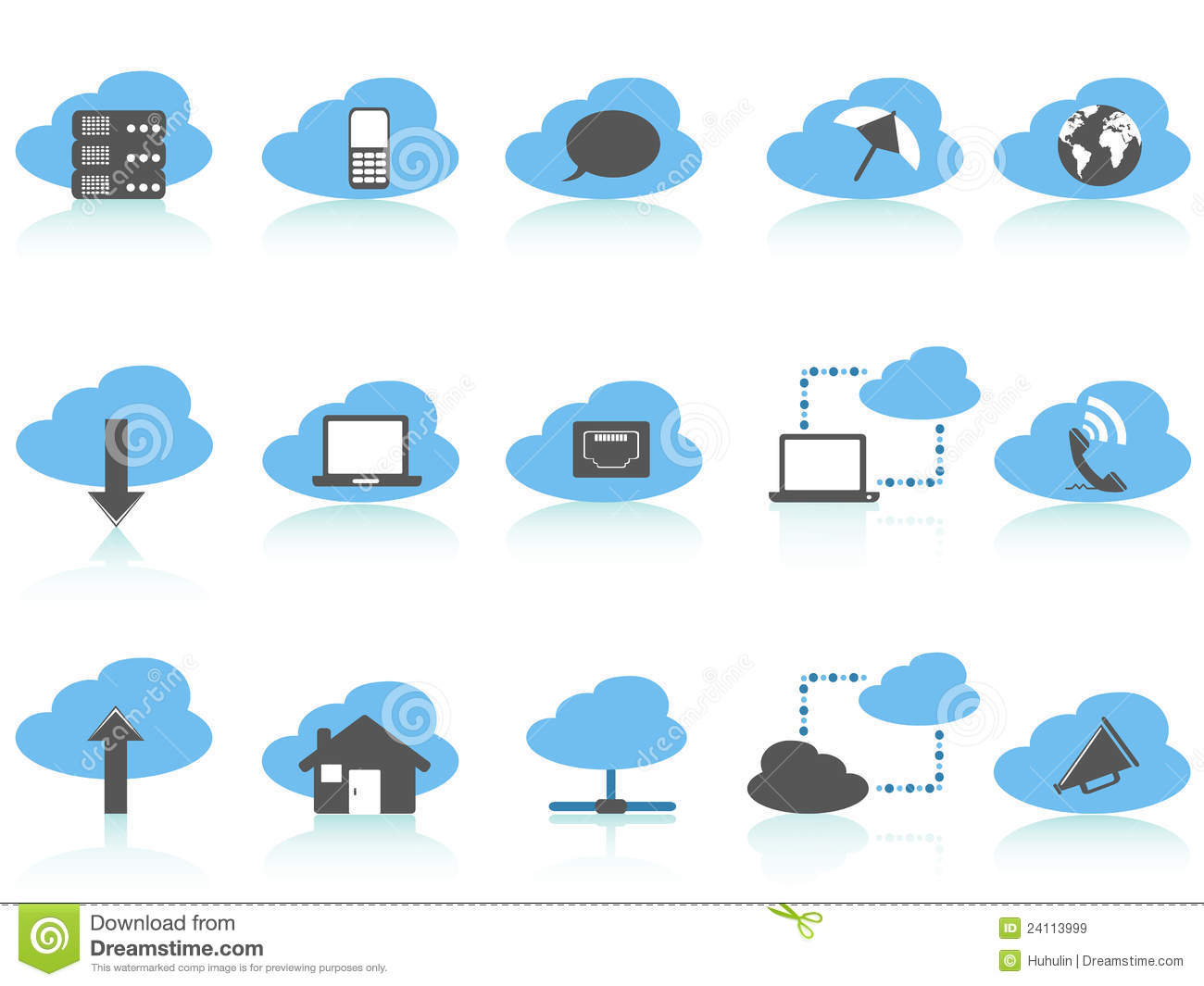 Simple Cloud Computing Icons Setblue Series