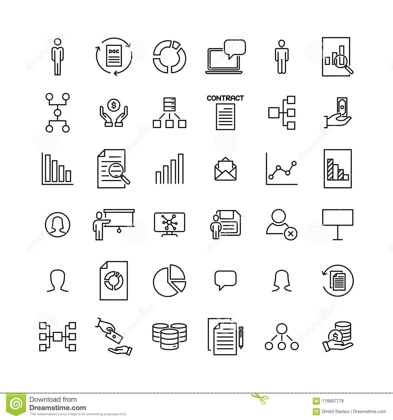 Simple Collection Of Leadership Related Line Icons Stock Vector