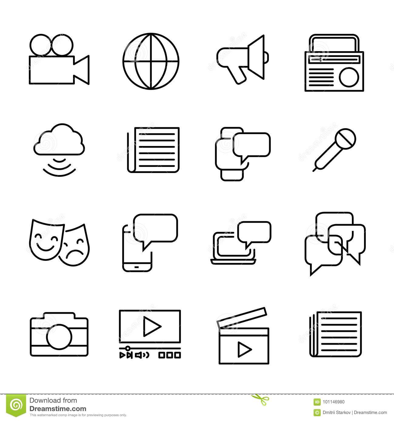 Simple Collection Of Mass Media Related Line Icons  Stock