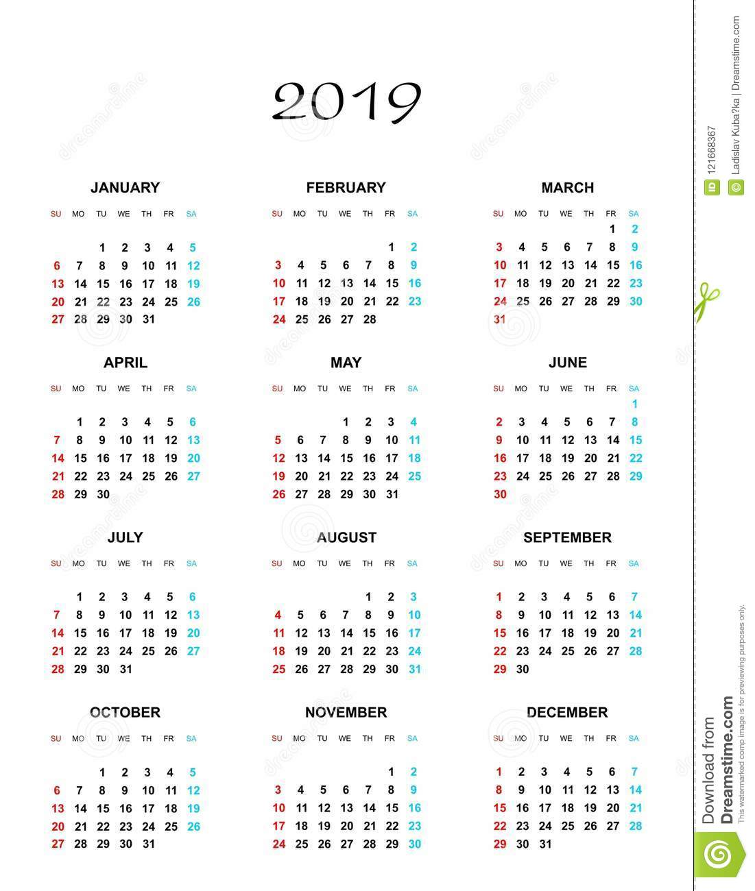 Simple Color Calendar For The Year 2019  The Names Of Days And