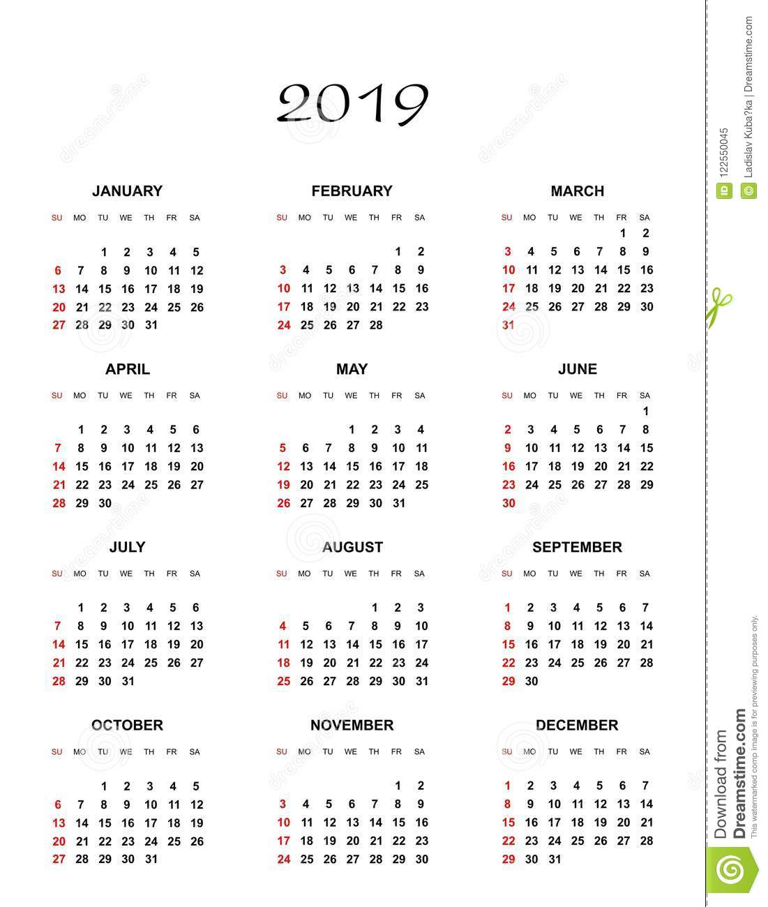 Simple Color Calendar For The Year 2019. The Names Of Days