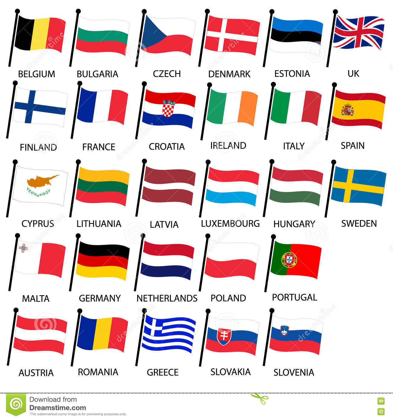 Simple Color Curved Flags All European Union Countries Collection