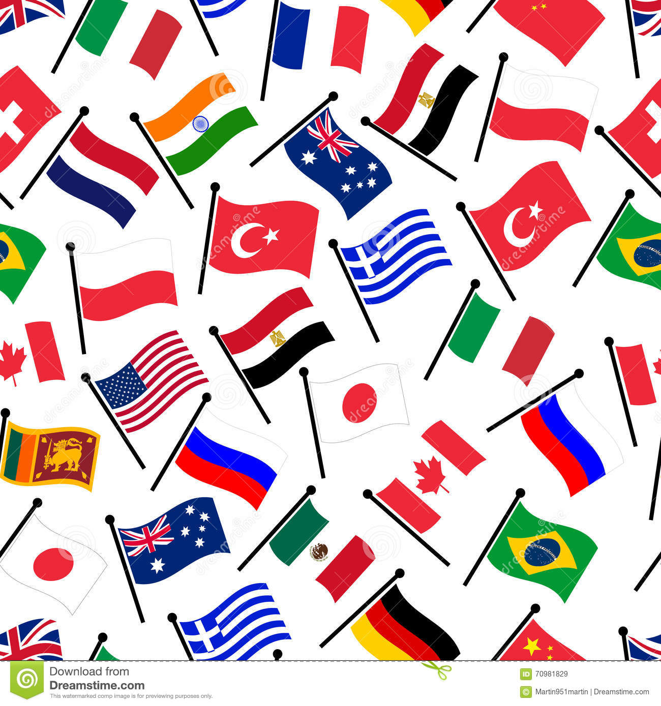 Simple Color Curved Flags Of Different Country Collection Stock ...