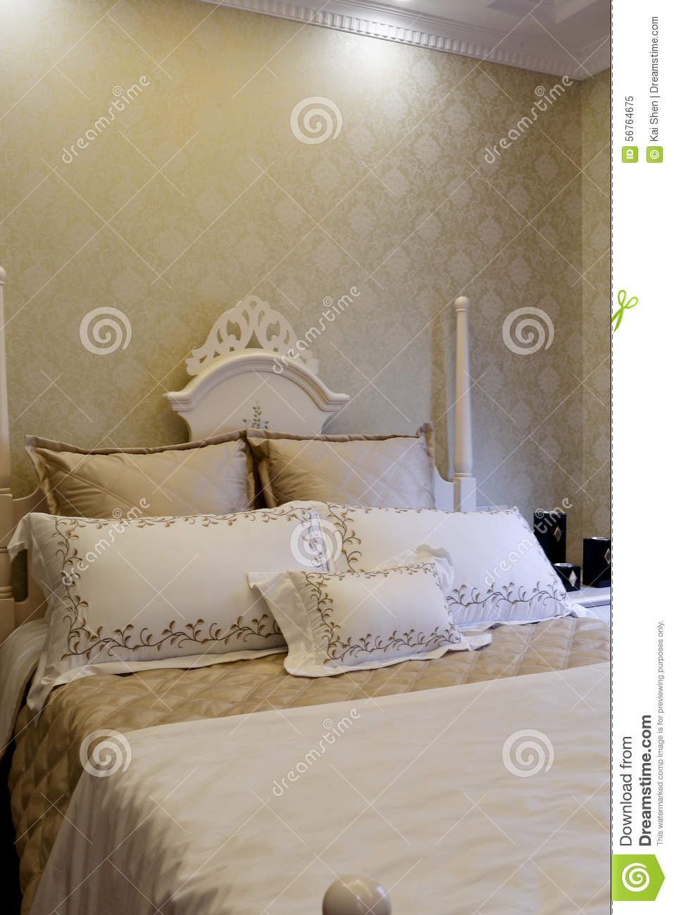 Simple Color And Decoration In The Bedroom Stock Image Image Of