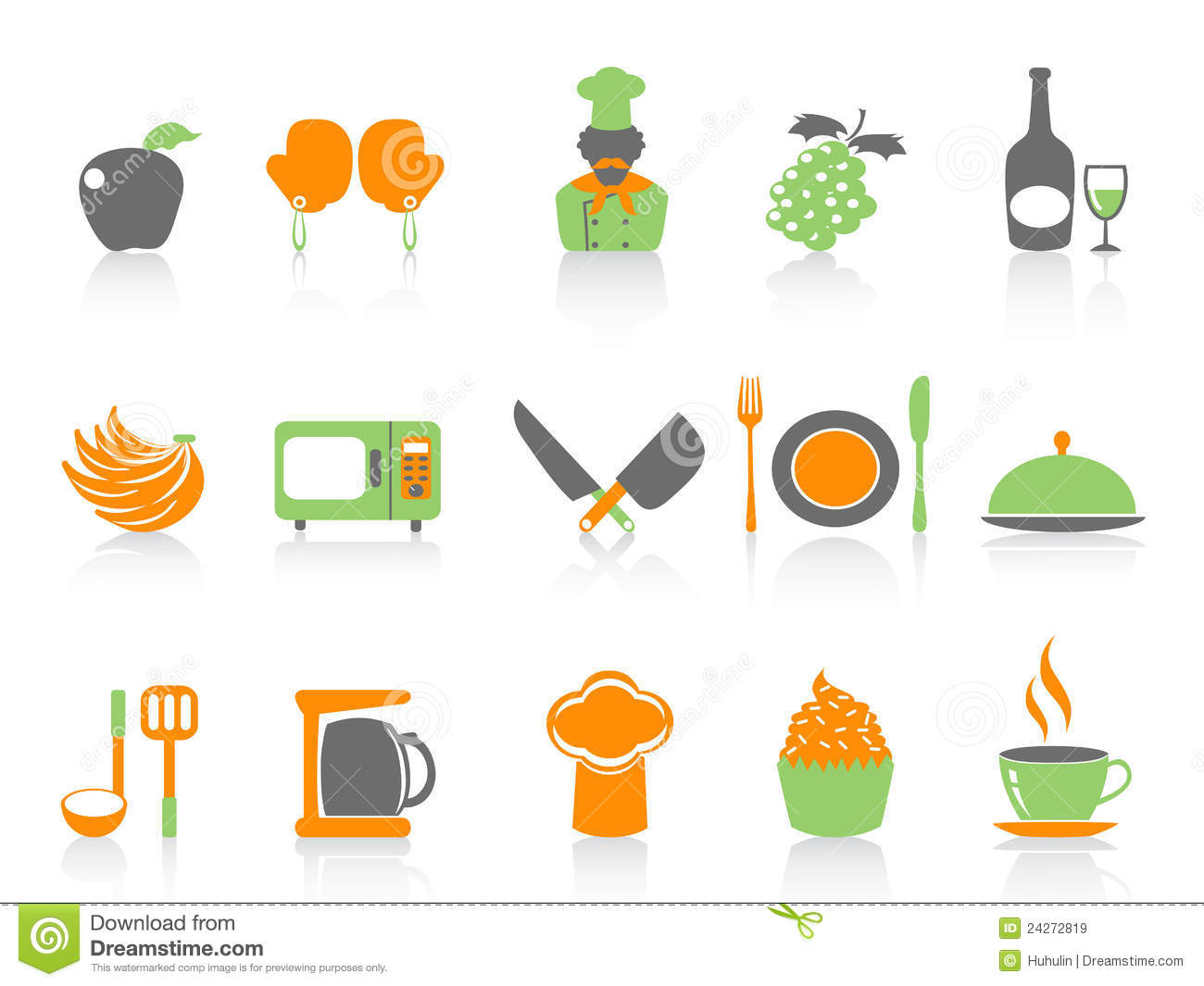 Isolated simple color kitchen icons set on white background