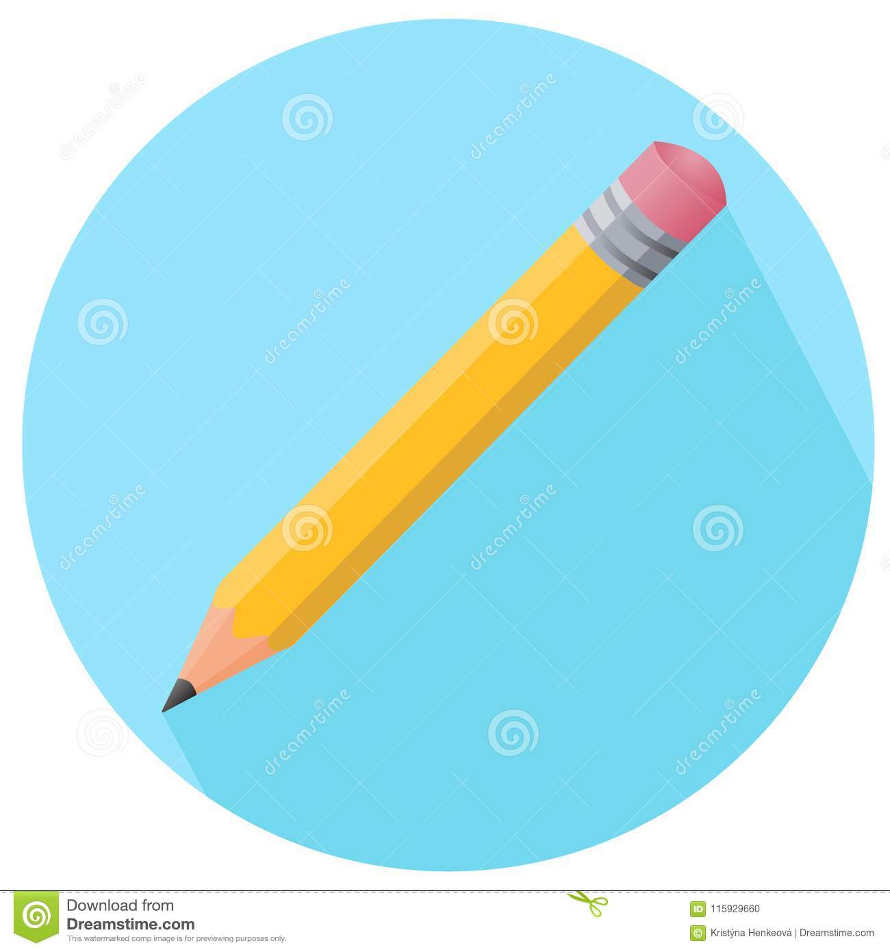 Simple Color Pencil Vector Icon With Rubber In Flat Style In Blu