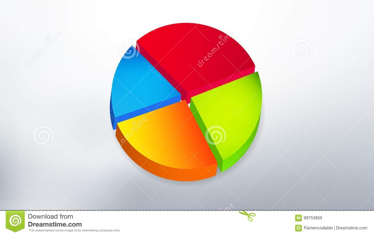 simple colored 3d pie chart design with background stock vector