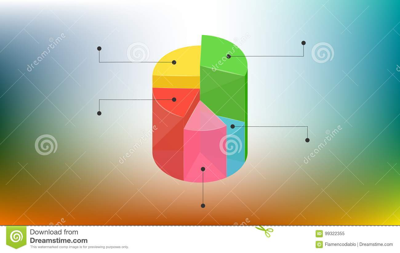 simple colored 3d pie chart desing with background stock vector