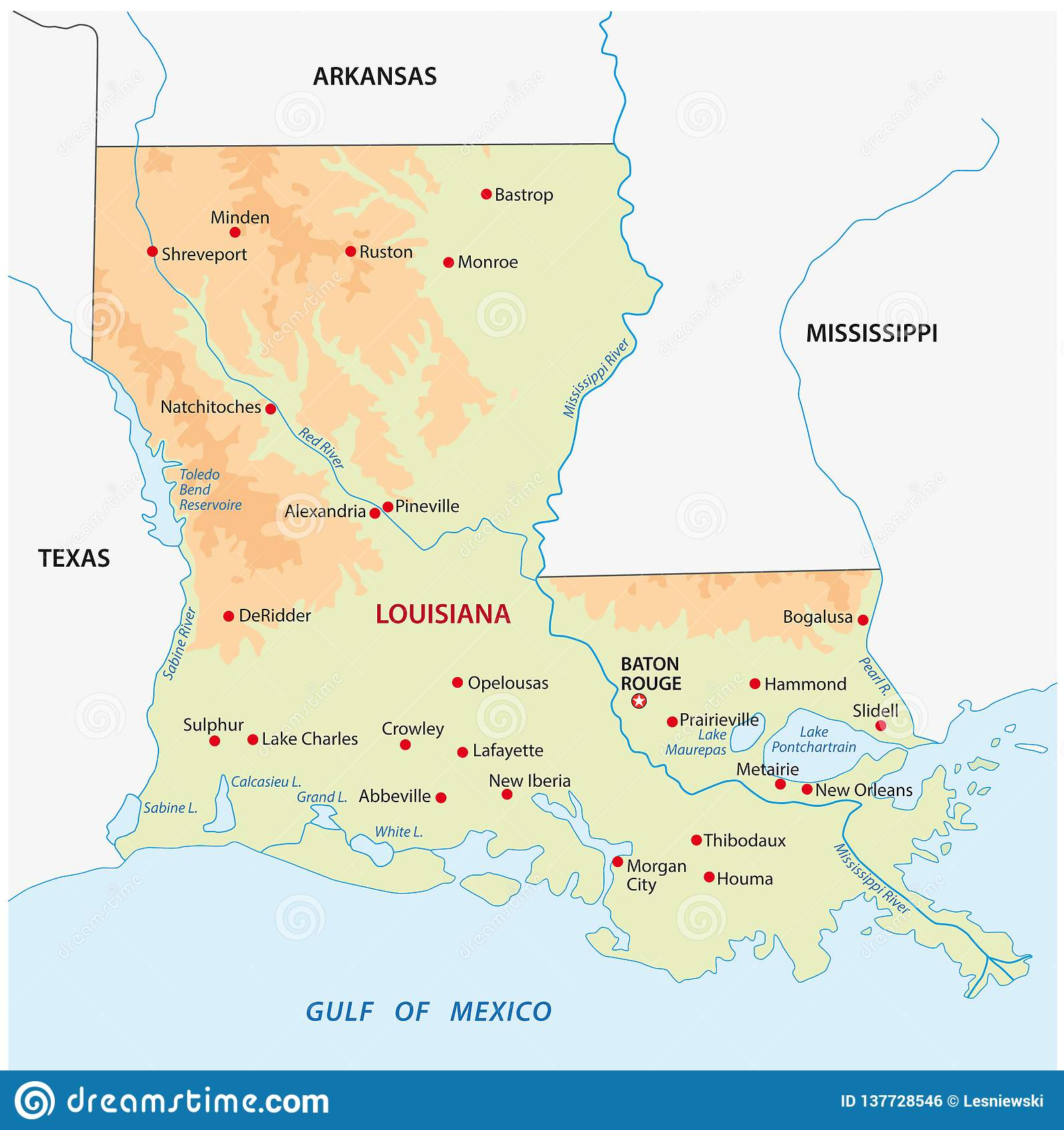 Simple Colored Louisiana State Physical Vector Map Stock ...