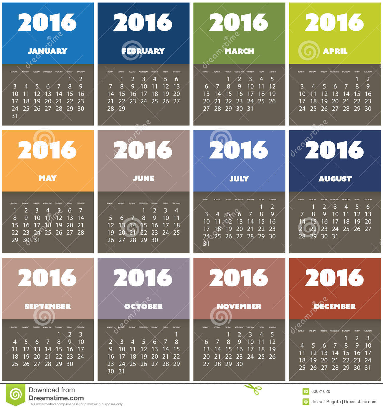 simple colorful calendar design for year 2016 stock vector image 60621020. Black Bedroom Furniture Sets. Home Design Ideas
