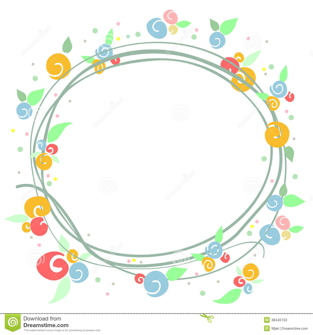Simple Colorful Floral Frame Stock Photos - Image: 38445103