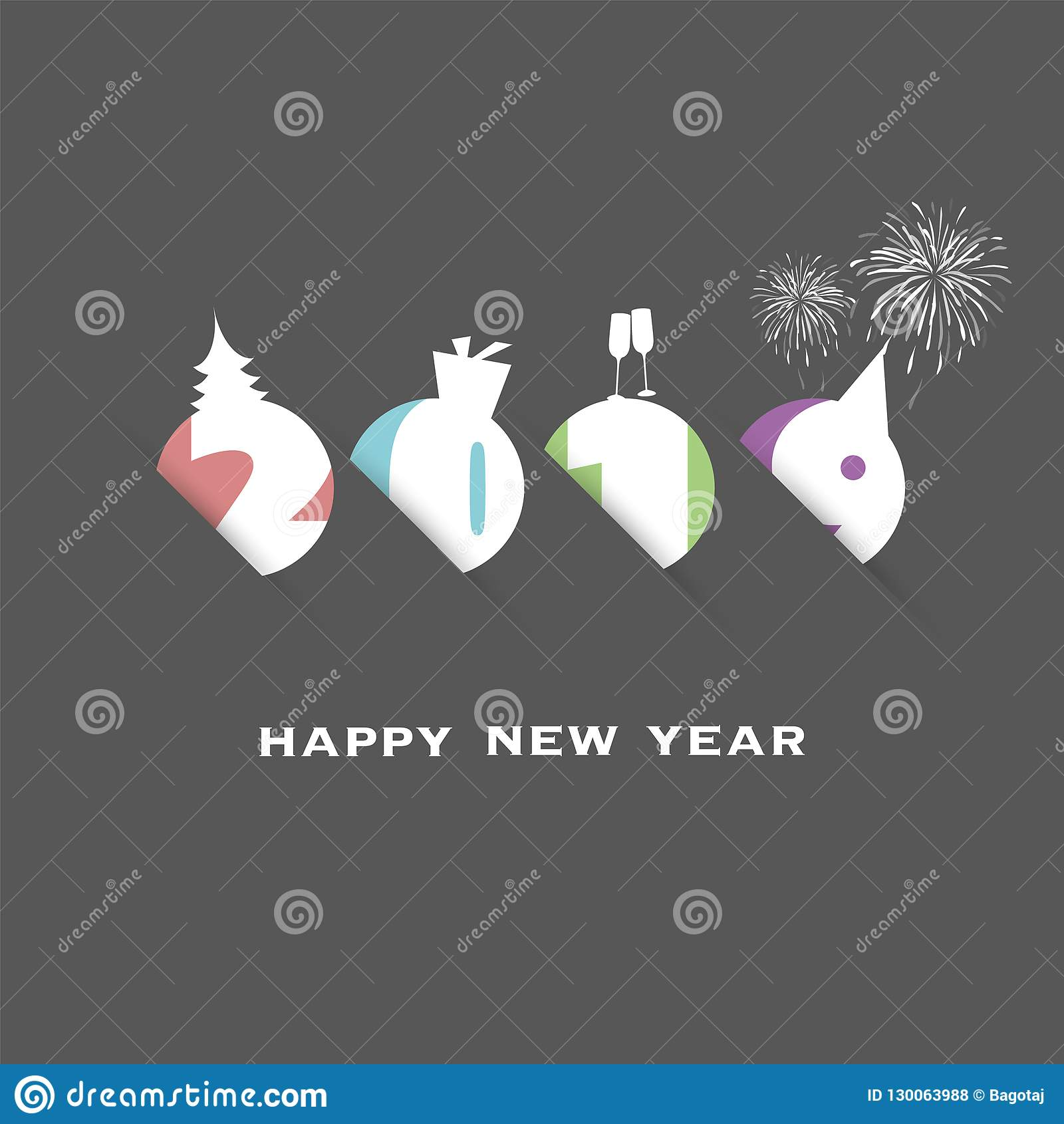 best wishes abstract modern style new year card cover or background design template illustration in freely scalable and editable vector format
