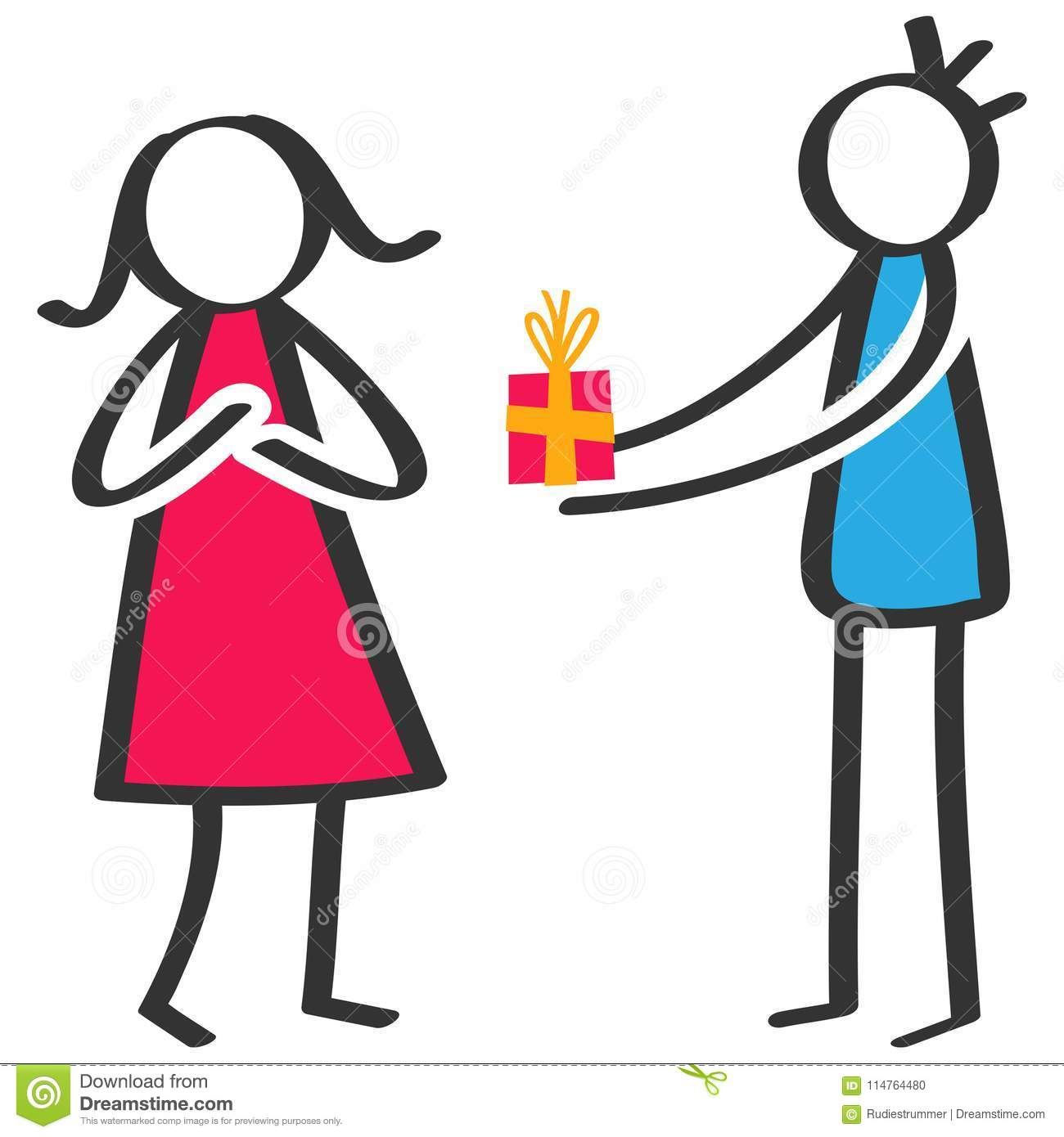 Simple colorful stick figure man giving birthday present, gift box to girlfriend