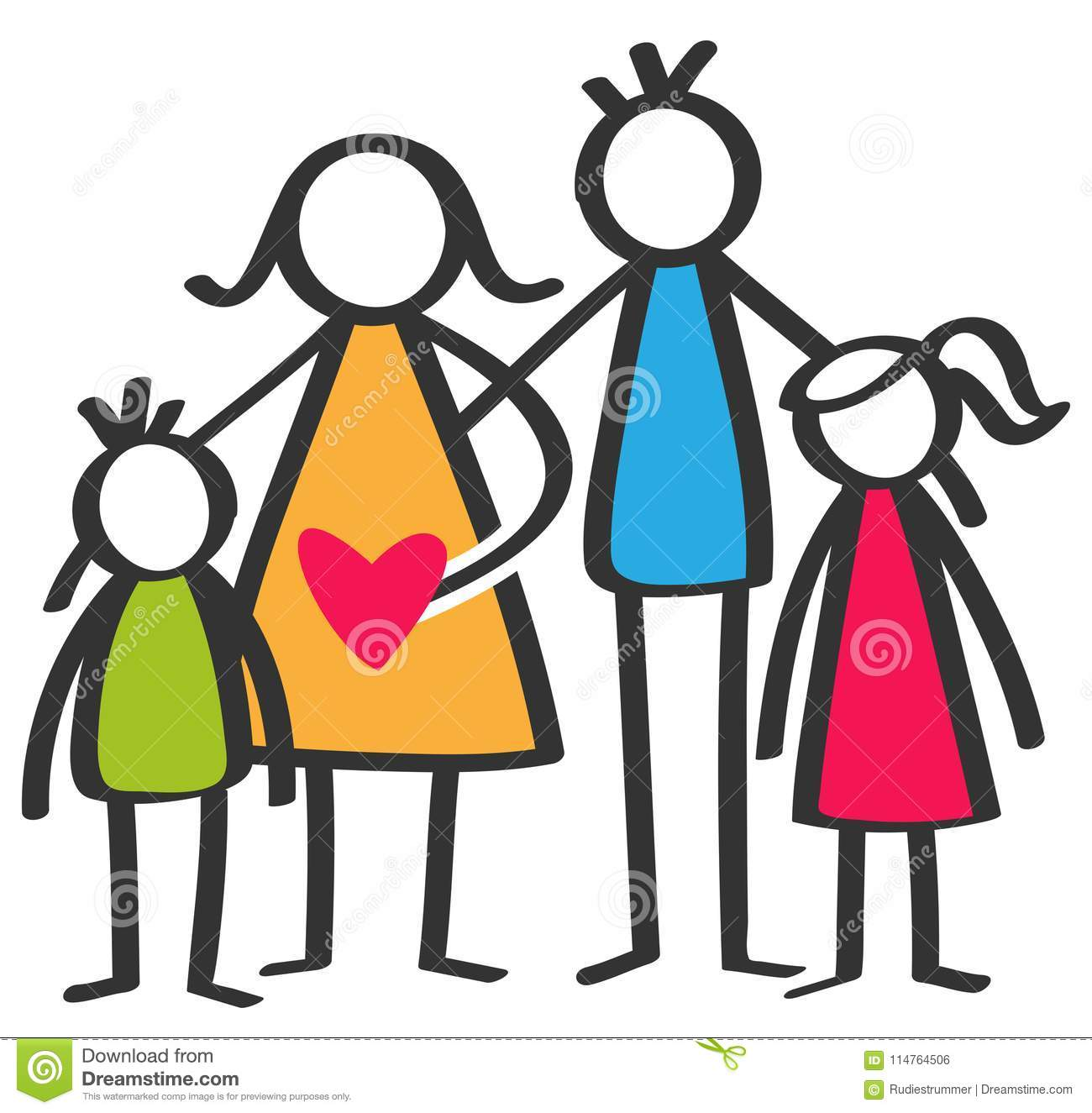 Simple colorful stick figures happy family, mother, father, son, daughter, children