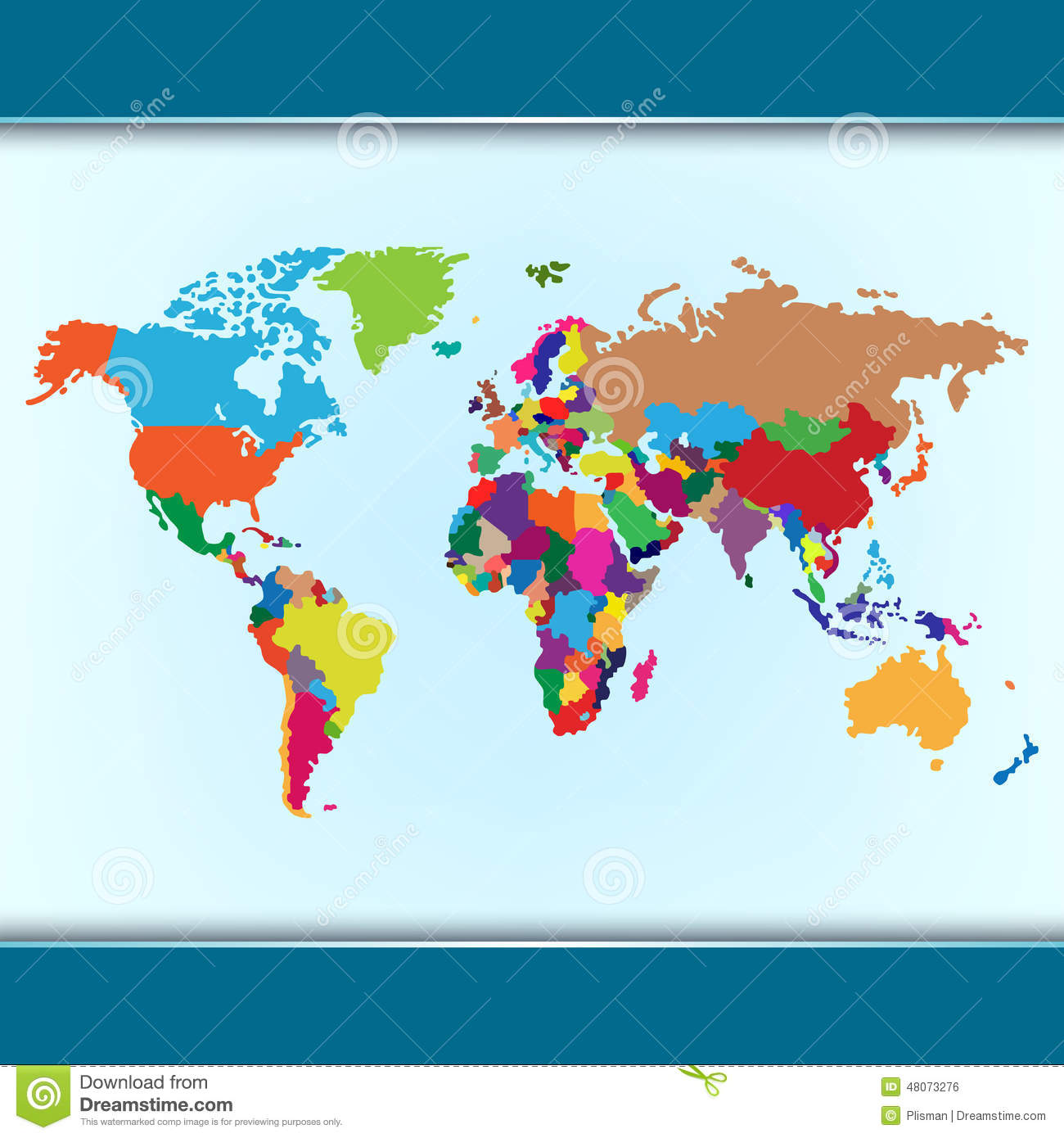 Simple colorful world map stock vector illustration of continent download comp gumiabroncs Gallery