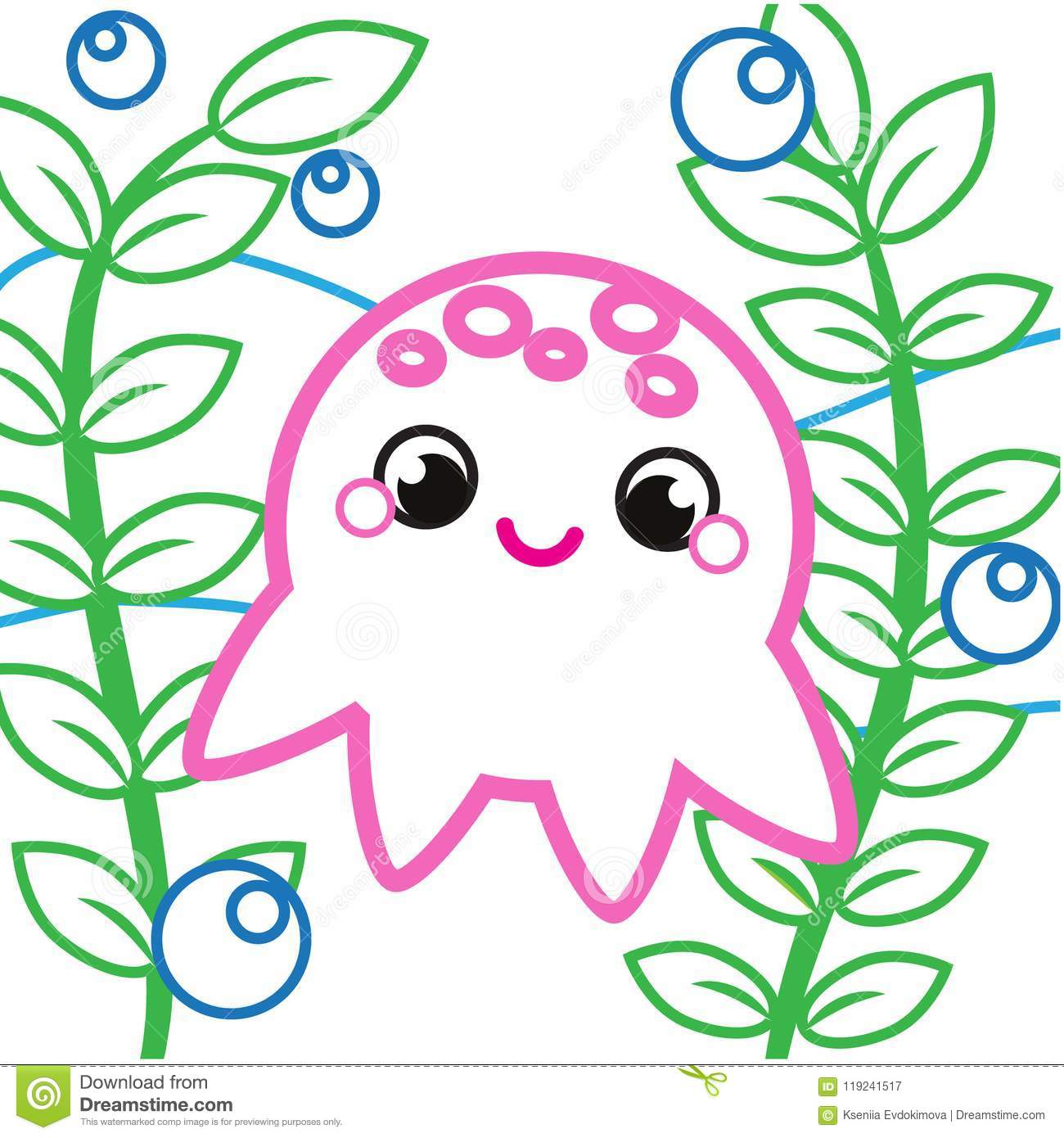 Simple Coloring Page For Toddlers With Cute Octopus. Printable ...