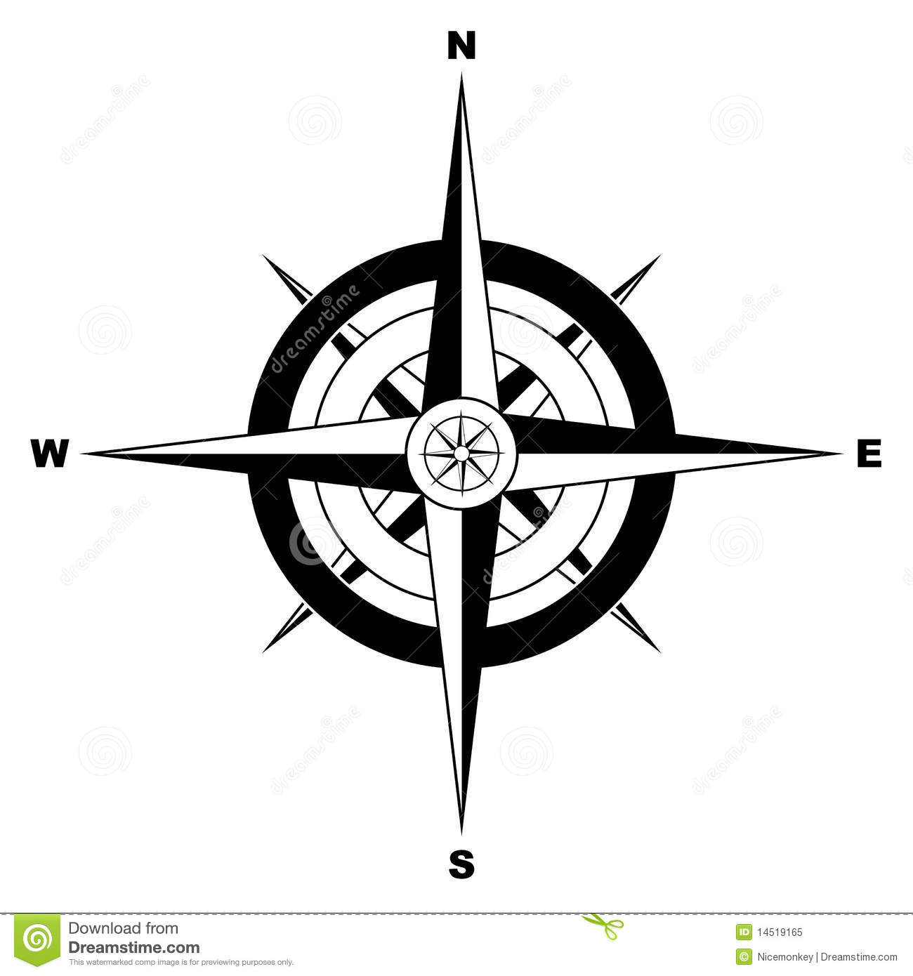 Black and white simple illustrated compass.