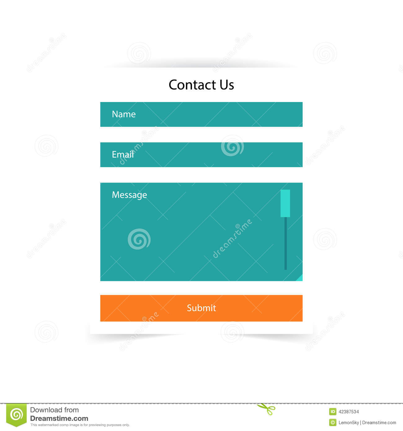 Simple contact us form templates vector template stock for Contact us php template