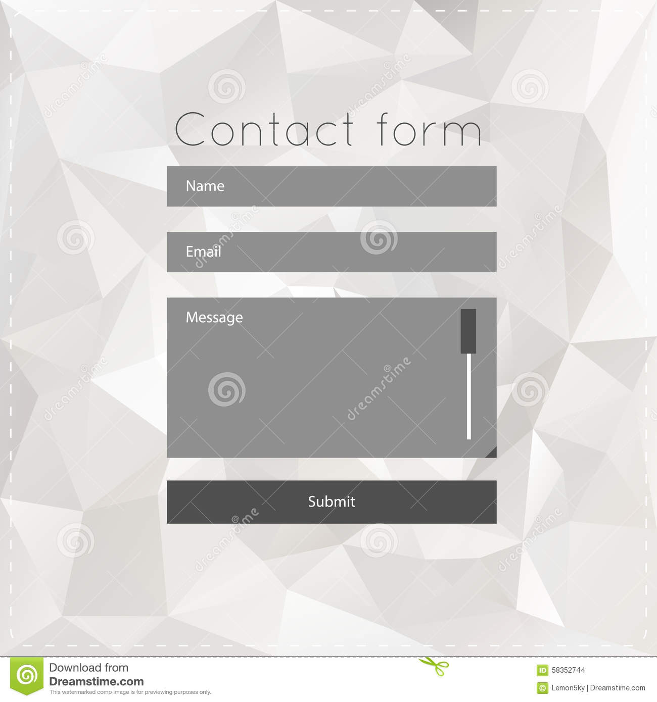 Simple contact us form templates stock vector for Contact us template free download