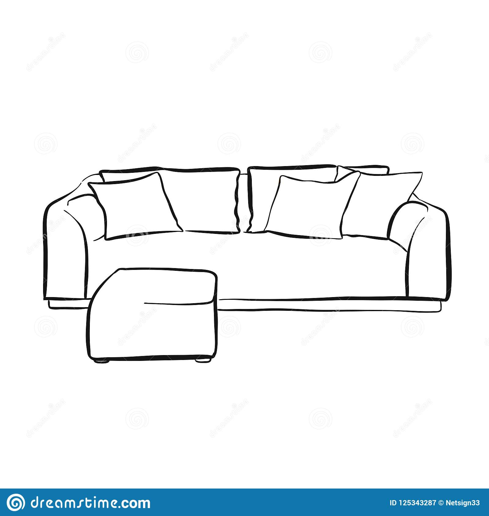 Simple Couch Outline Drawing Stock Vector Illustration Of