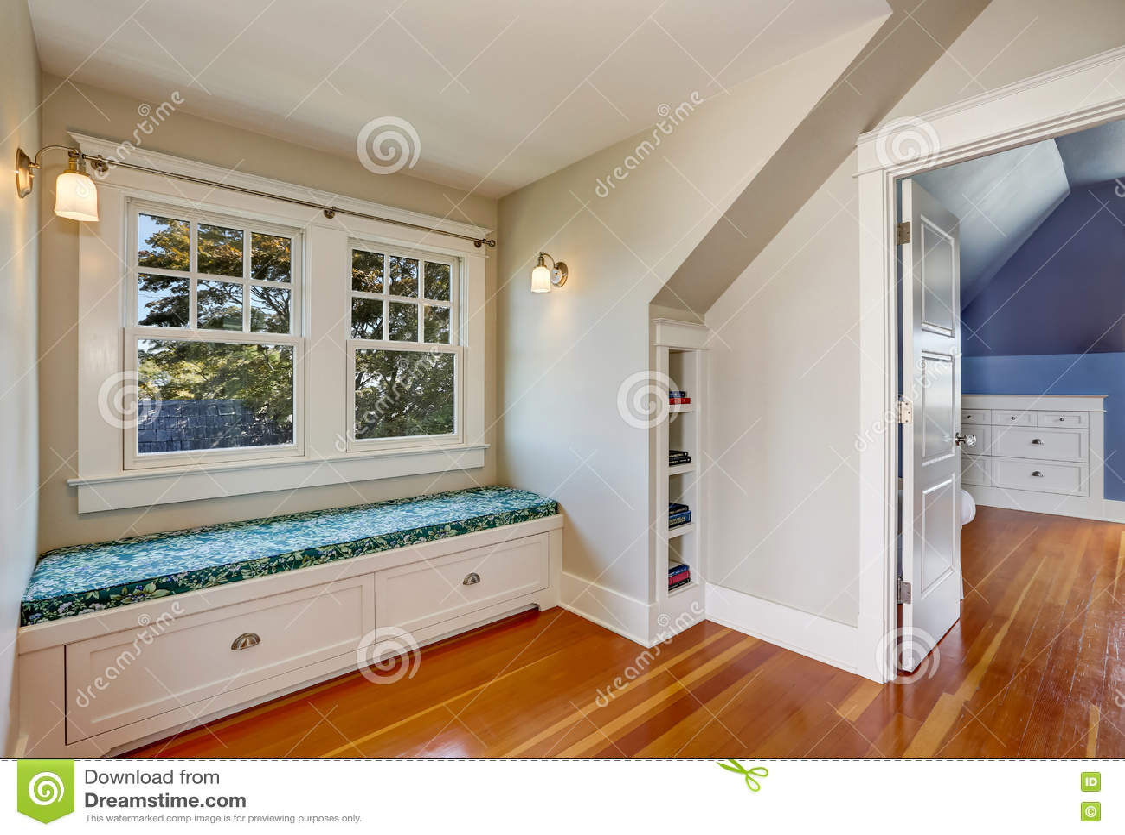 Phenomenal Simple Cozy Sitting Room Interior In The Attic Stock Image Ibusinesslaw Wood Chair Design Ideas Ibusinesslaworg