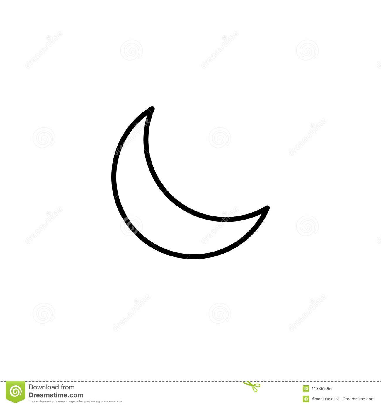simple crescent moon line icon stock vector illustration of climate crescent 113359956 https www dreamstime com simple crescent moon line icon isolated white background simple crescent moon line icon image113359956