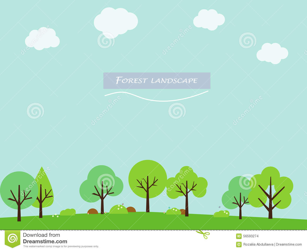 Simple And Cute Landscape For Your Design Stock Vector
