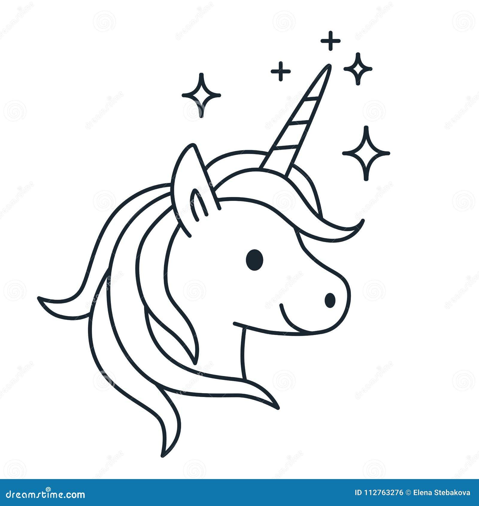 simple magic unicorn vector line illustration