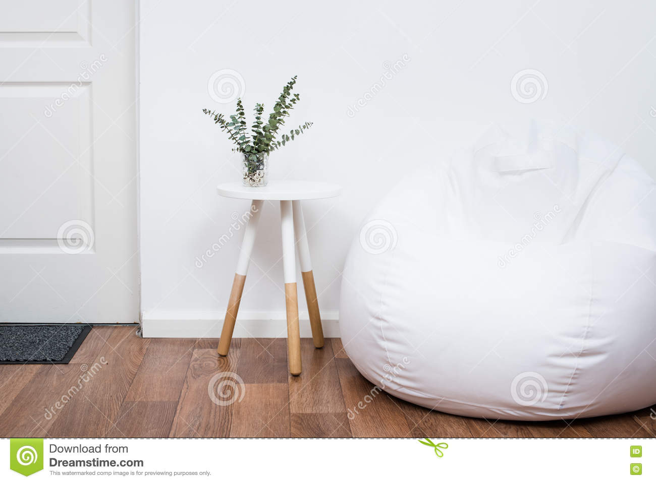 Scandinavian Home Interior Decoration Simple Decor Objects And Bean Bag Chair Minimalist White Room