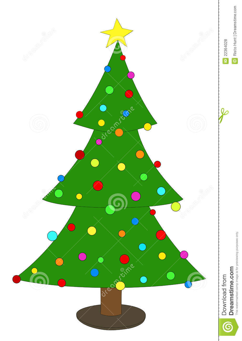 Decorated Christmas Tree Images : Simple decorated christmas tree stock illustration image