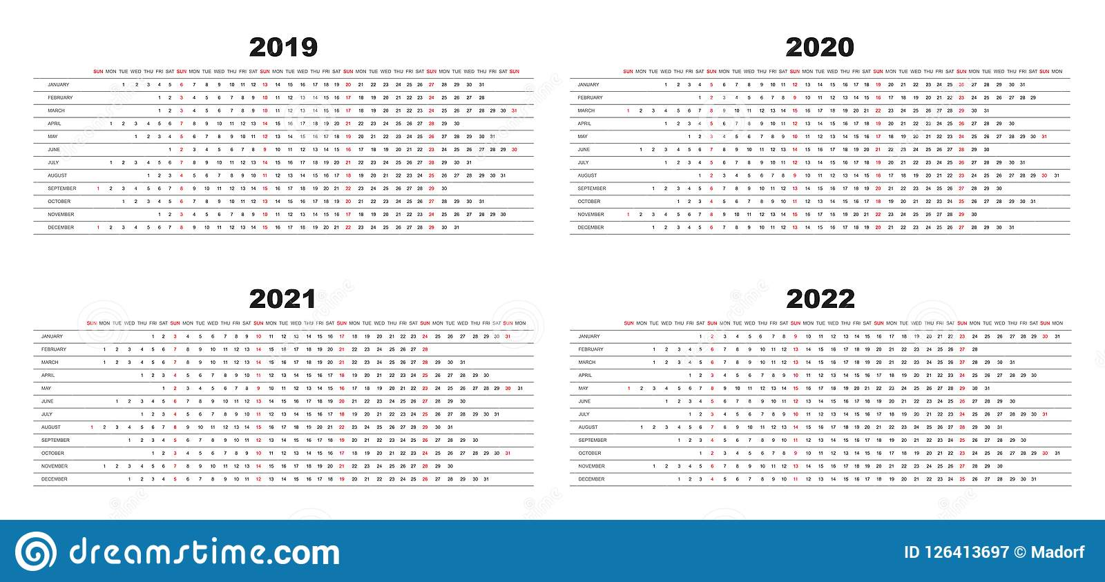 Simple Design Calendar 2019, 2020, 2021,2022 With White Background