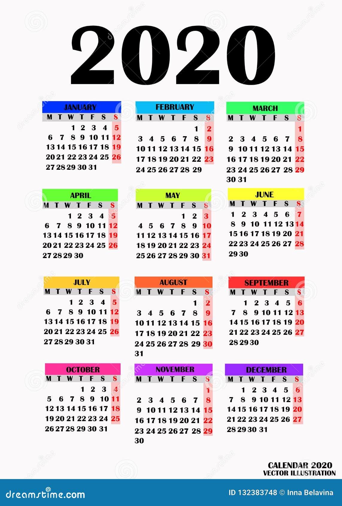 Calendario Rosa 2020.Simple Design For Calendar 2020 Stock Vector Illustration