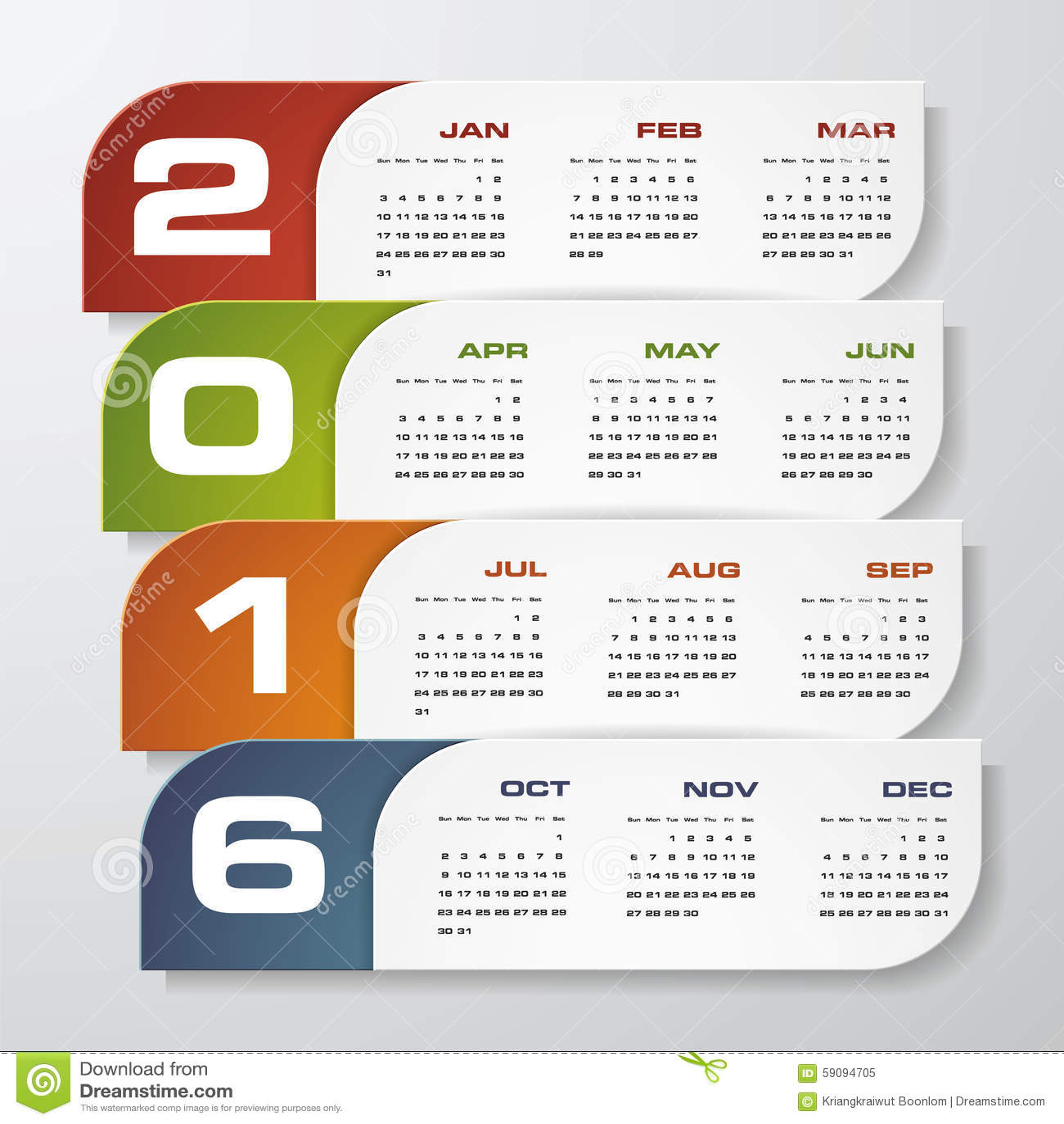 Simple Design Calendar 2016 Year Vector Design Template