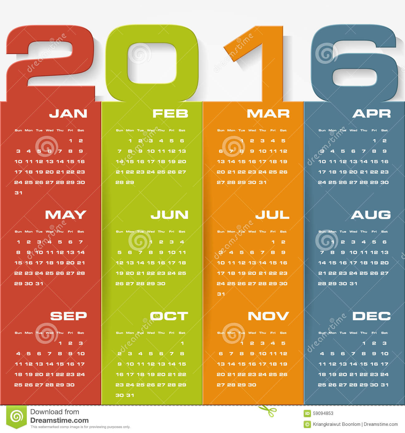 Calendar Design Ideas Vector : Simple design calendar year vector template