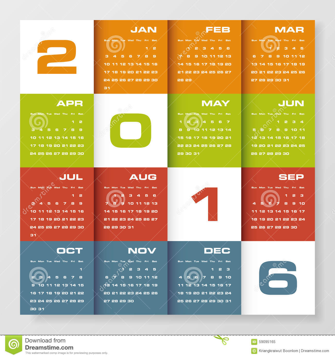 Corporate Calendar Design 2016 : Simple design calendar year vector template