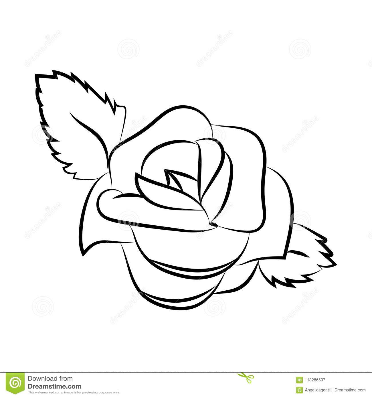 Simple Vector Rose Design Of A Flower Silhouette Isolated On
