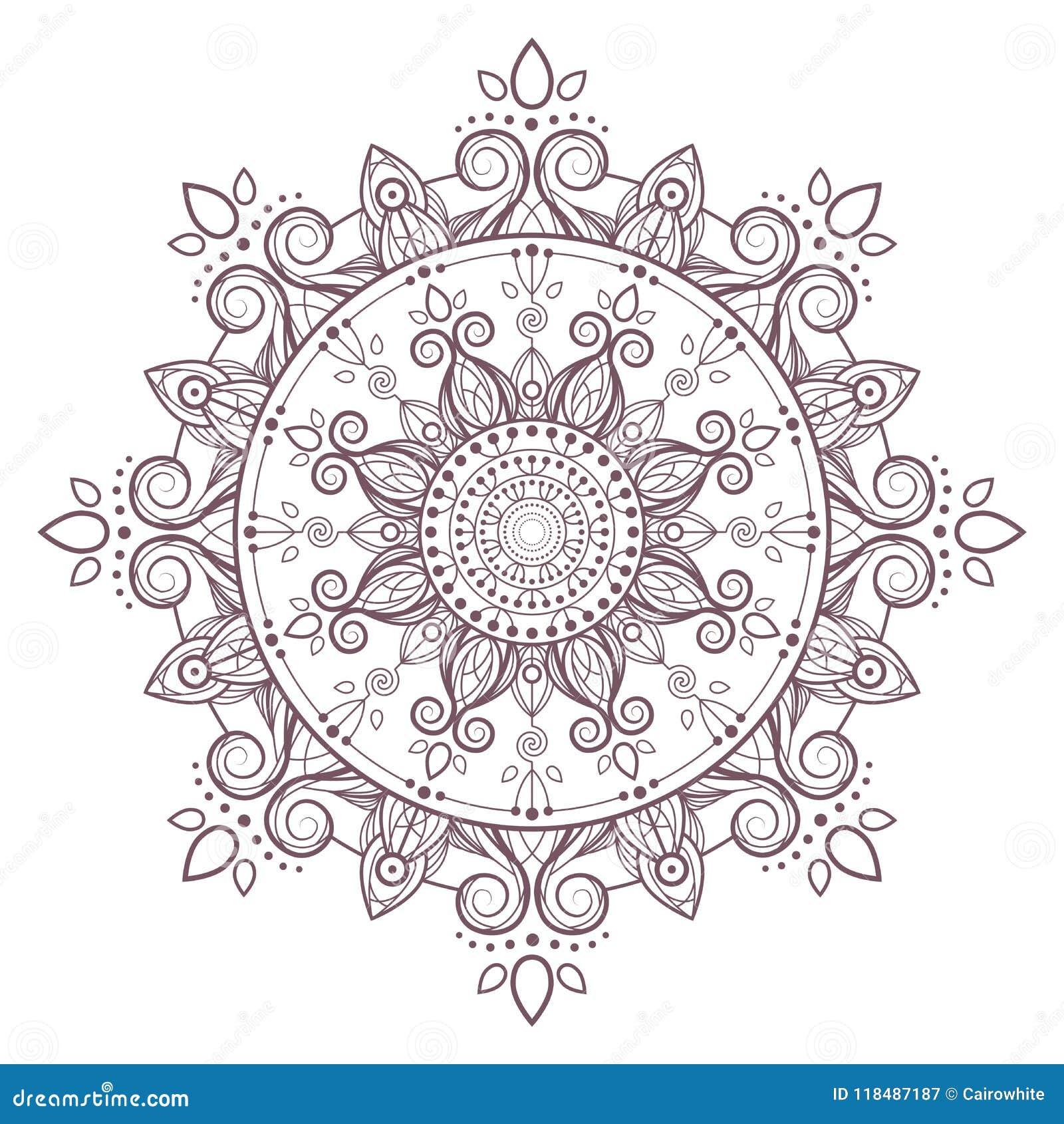 Line Art Vector Of Simple Mandala Design Stock Vector