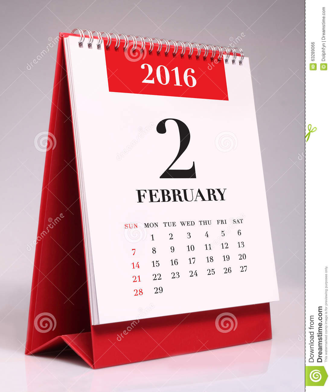 Table Calendar 2016 : Simple desk calendar february stock photo image