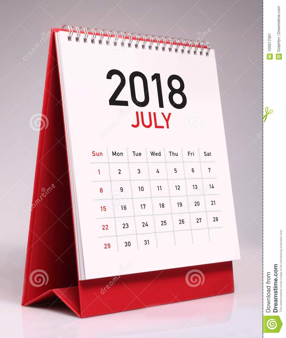 simple desk calendar for july 2018