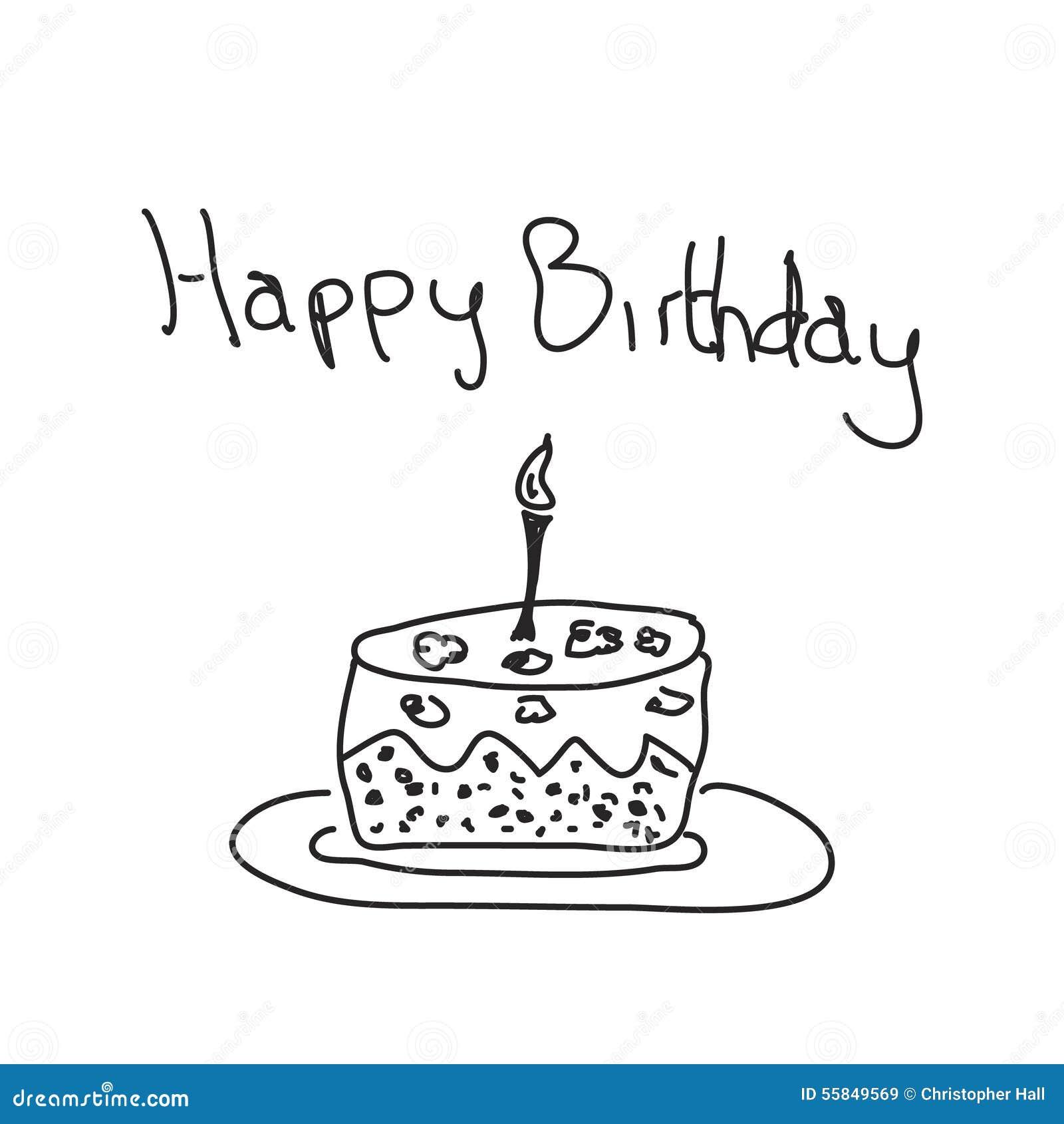 Hand Drawing Birthday Cake